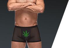 mens sexy graphic underwear with pot leaf
